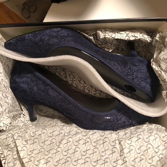 acf4b7a7ddf Adrianna Papell Shoes - Arianna Papell Lois Pumps - Navy Lace Kitten Heel